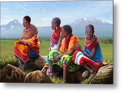 Maasai Women Metal Print by Anthony Mwangi