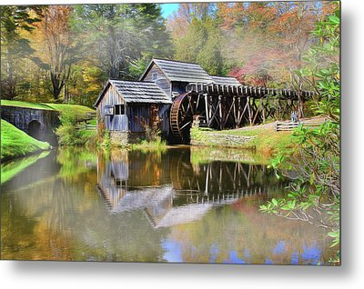 Metal Print featuring the digital art Mabry Grist Mill by Sharon Batdorf