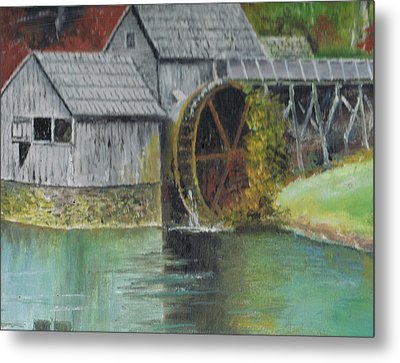 Mabry Mill In Virginia Usa Close Up View Of Painting Metal Print by Anne-Elizabeth Whiteway
