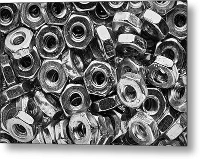 Machine Screw Nuts Macro Horizontal Metal Print by Steve Gadomski