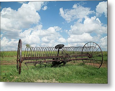 Machinery And Sky Metal Print by Gina Zhidov