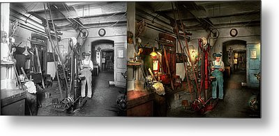 Metal Print featuring the photograph Machinist - Government Approved 1919 - Side By Side by Mike Savad