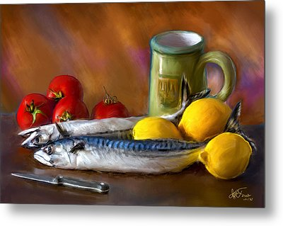 Metal Print featuring the photograph Mackerels, Lemons And Tomatoes by Juan Carlos Ferro Duque