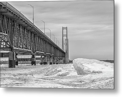 Metal Print featuring the photograph Mackinac Bridge Icy Black And White  by John McGraw