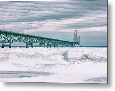 Metal Print featuring the photograph Mackinac Bridge In Winter During Day by John McGraw