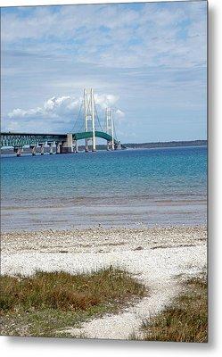 Metal Print featuring the photograph Mackinac Bridge Path To Lake by LeeAnn McLaneGoetz McLaneGoetzStudioLLCcom