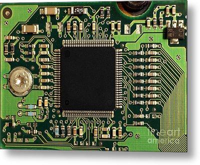 Macro Image Of A Hard Disk Controller Metal Print by Yali Shi