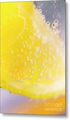 Macro Lemonade Bubbles Metal Print