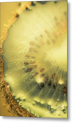 Macro Shot Of Submerged Kiwi Fruit Metal Print