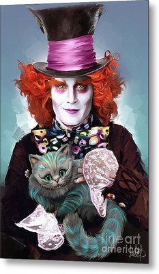 Mad Hatter And Cheshire Cat Metal Print by Melanie D