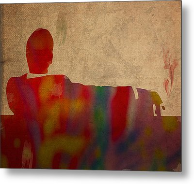 Mad Men Watercolor Silhouette Painting On Worn Parchment No 3 Metal Print by Design Turnpike
