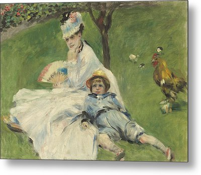 Madame Monet And Her Son Metal Print by Pierre Auguste Renoir