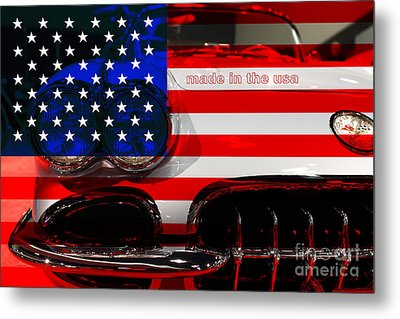 Made In The Usa . Chevy Corvette Metal Print by Wingsdomain Art and Photography