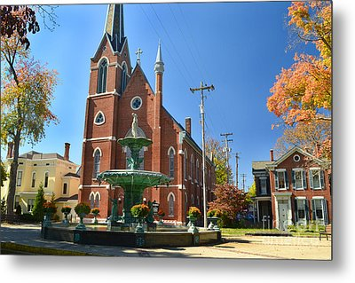 Madison Church And Water Fountain Metal Print by Amy Lucid
