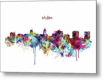 Metal Print featuring the mixed media Madison Skyline Silhouette by Marian Voicu