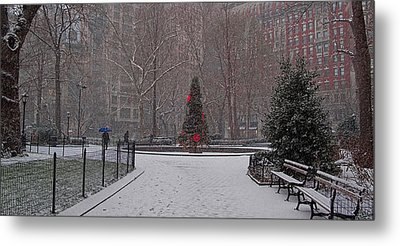 Madison Square Park In The Snow At Christmas Metal Print by Chris Lord