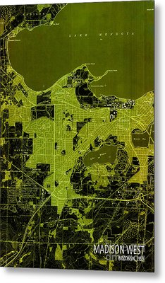 Madison West Old Map Metal Print