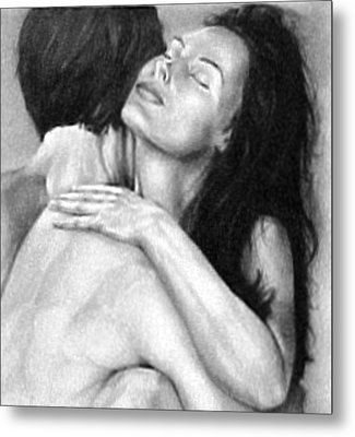 Madly In Love Couple- Black And White Drawing Metal Print