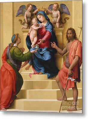 Madonna And Child Enthroned With Saints Mary Magdalene And John The Baptist Metal Print