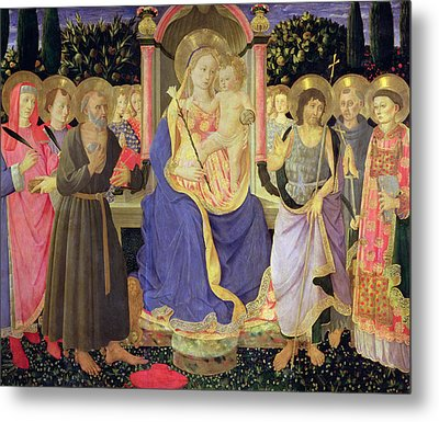 Madonna And Child Enthroned With Saints  Metal Print by Master of the Buckingham Palace Madonna