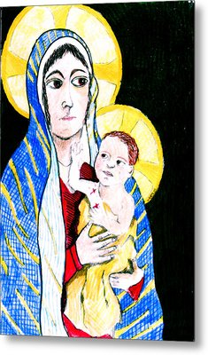 Madonna And Child Metal Print by Jame Hayes
