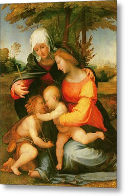 Madonna And Child  Saint Elizabeth And The Infant Saint John The Baptist Metal Print