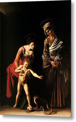 Madonna And Child With St. Anne Metal Print by Caravaggio