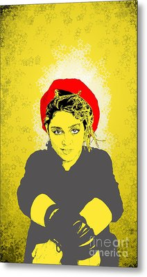 Metal Print featuring the drawing Madonna On Yellow by Jason Tricktop Matthews