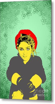 Metal Print featuring the drawing Madonna On Green by Jason Tricktop Matthews