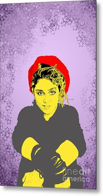 Metal Print featuring the drawing Madonna On Purple by Jason Tricktop Matthews
