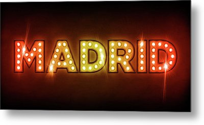 Madrid In Lights Metal Print by Michael Tompsett
