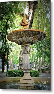 Madrid Merboy Fountain Metal Print