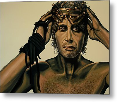Mads Mikkelsen Painting Metal Print by Paul Meijering