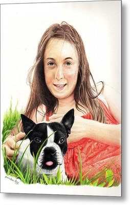 Metal Print featuring the drawing Madyson And Cooper by Mike Ivey