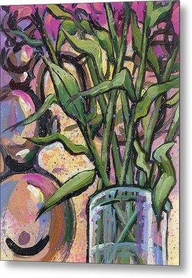 Magenta Bouquet On Mantel Metal Print