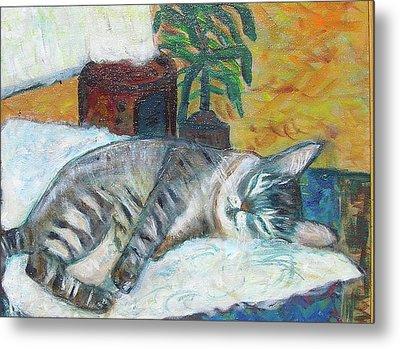 Maggie Sleeping Metal Print by Carolyn Donnell