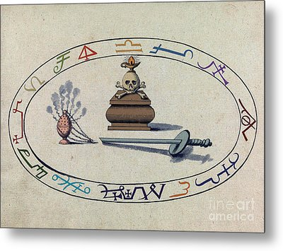 Magic Circle, Cabbalistic Symbols Metal Print by Science Source