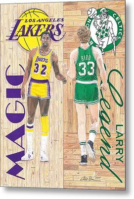 Magic Johnson And Larry Bird Metal Print