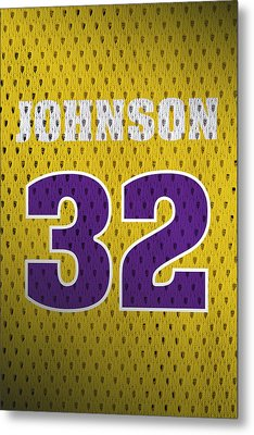 Magic Johnson Los Angeles Lakers Number 32 Retro Vintage Jersey Closeup Graphic Design Metal Print by Design Turnpike