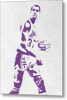 Magic Johnson Los Angeles Lakers Pixel Art Metal Print by Joe Hamilton