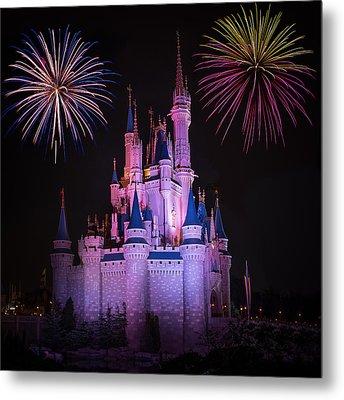Magic Kingdom Castle Under Fireworks Square Metal Print