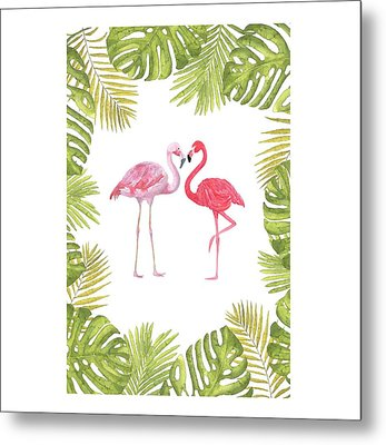Metal Print featuring the painting Magical Tropicana Love Flamingos And Leaves by Georgeta Blanaru