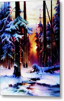 Magical Winter Night Metal Print by Georgiana Romanovna