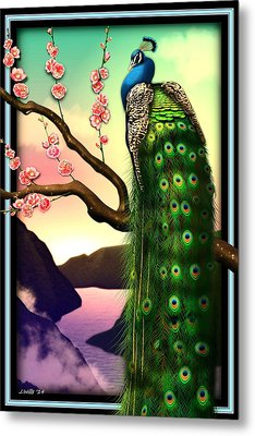 Magnificent Peacock On Plum Tree In Blossom Metal Print