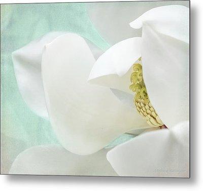 Magnolia Blossom, Soft Dreamy Romantic White Aqua Floral Metal Print