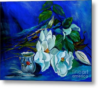 Magnolias And Cream Metal Print by Jenny Lee