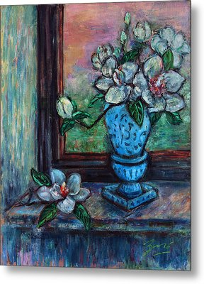 Metal Print featuring the painting Magnolias In A Blue Vase By The Window by Xueling Zou