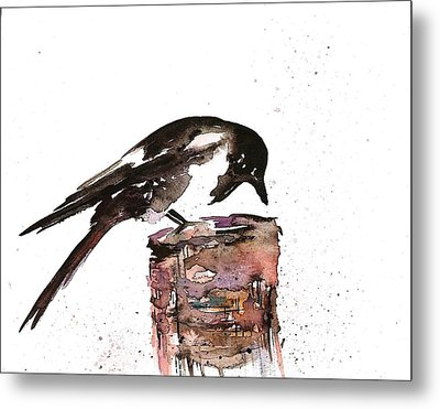 Magpie On A Stump Metal Print