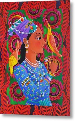 Maharani With Two Birds Metal Print by Jane Tattersfield