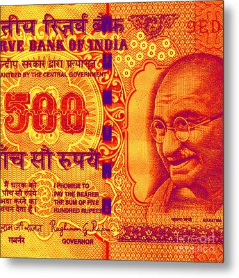 Mahatma Gandhi 500 Rupees Banknote Metal Print